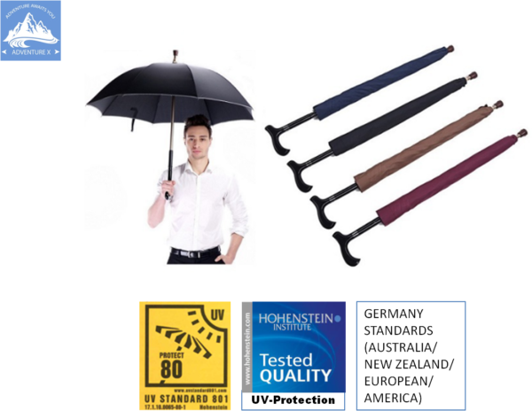 Adjustable Handle Walking Stick Umbrellas Easy to Grip Handle with UV-Protection Umbrellas. Complied with Germany Standards